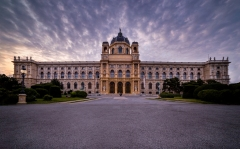 Vienna National Museum of History building at dusk. The building was built in beautiful architecture.