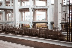 Reinforced concrete at construction site.
